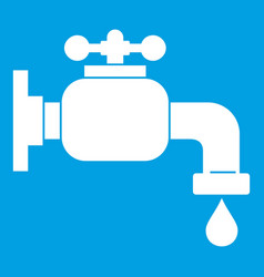 Water tap icon white vector