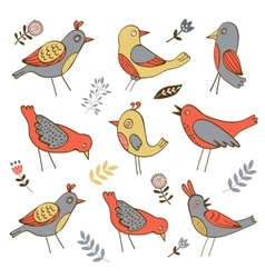 Cute collection of funny birds vector image