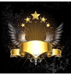 Gold Ribbon with Wings vector image