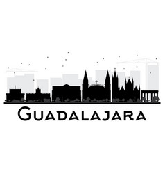 guadalajara city skyline black and white vector image vector image