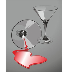 heart-shaped wine spill vector image