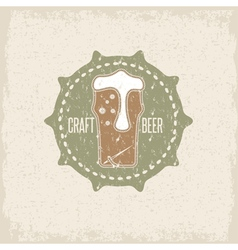 craft beer concept grunge label with needle and vector image vector image
