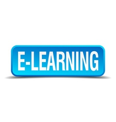 e-learning blue 3d realistic square isolated vector image vector image