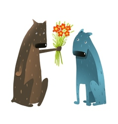 Funny Dog in Love Presenting Flowers to Friend vector image vector image
