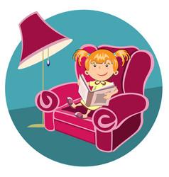 little girl reading a book in an armchair vector image vector image
