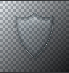 modern transparent shield glass plate with vector image
