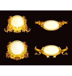 Set of vintage frames on black vector image vector image