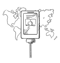 Sketch of tablet with search icon on a display vector image