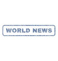 World news textile stamp vector