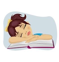 Cute little girl fallen asleep on her book vector image