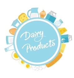 Dairy products frame Flat style Milk frames for vector image