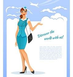 Girl in stewardess uniform vector image vector image