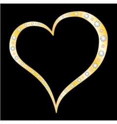 gold diamonds heart vector image vector image