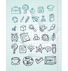 icon set - hand drawn school doodles vector image vector image
