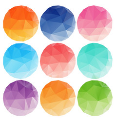 low poly circles with different colours vector image