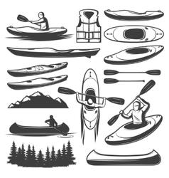 Vintage kayaking elements set vector