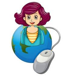A smiling woman above the earth with a computer vector