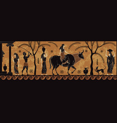 Ancient myth sceenblack figure pottery vector
