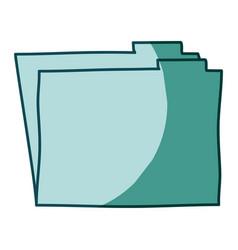 aquamarine hand drawn silhouette of folder vector image