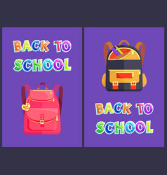 back to school backpack poster vector image