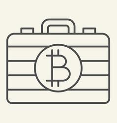 Bitcoin case thin line icon portfolio with crypto vector