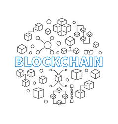Blockchain technology round outline modern vector
