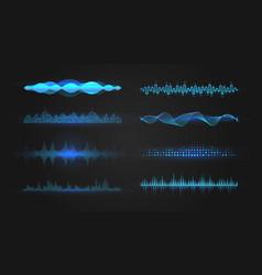 Blue equalizer waves on black background vector
