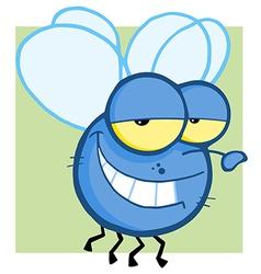 Blue Fly Cartoon Character vector