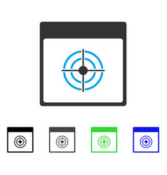 Bullseye calendar page flat icon vector
