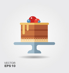 cake on the stand flat icon with shadow vector image