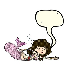 Cartoon mermaid with tattoos with speech bubble vector
