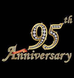 celebrating 95th anniversary golden sign with vector image