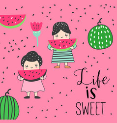 childish card with cute girls and watermelons vector image
