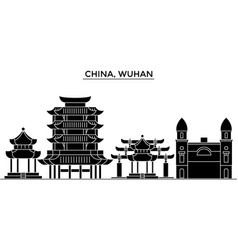 china wuhan architecture urban skyline with vector image