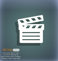 Cinema Clapper icon symbol on the blue-green vector image