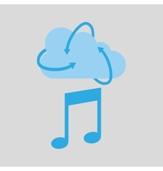 Cloud technology media music note icon vector