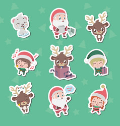 Collection of christmas character stickers vector