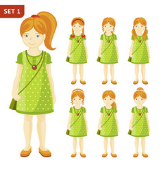 collection of cute ginger little girls with vector image