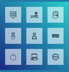 computer icons line style set with computer vector image