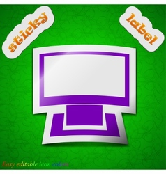 Computer widescreen icon sign Symbol chic colored vector