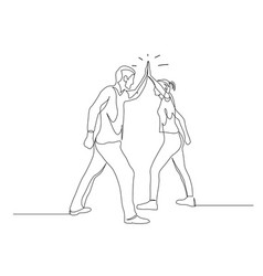 Continuous one line man and woman give five vector