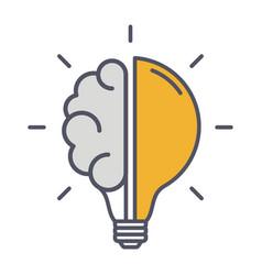 creative idea thin line icon brain in lightbulb vector image