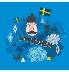 Creative pattern with swedish symbols vector