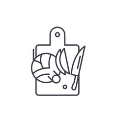 cutting vegetables line icon concept cutting vector image