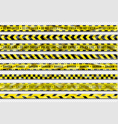 Danger ribbon yellow caution tape with warning vector