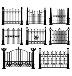 Decorative wrought fences and gates set vector