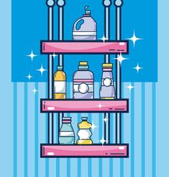 Detergents on shelf vector