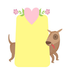 Dog behind paper sticker template st vector