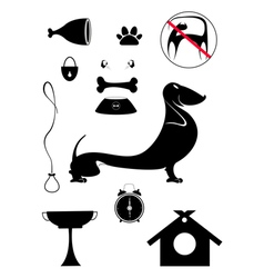 Dog breeding objects collection for design vector