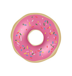 Donut with pink glaze vector